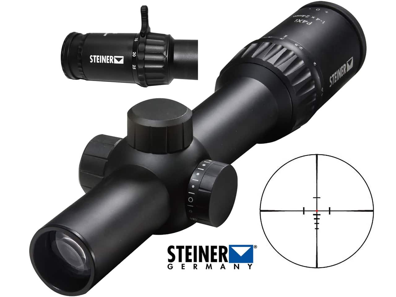 Steiner P4Xi Rifle Scope 30mm Tube 1-4x 24mm Illuminated Reticle w/Throw Lever For $479