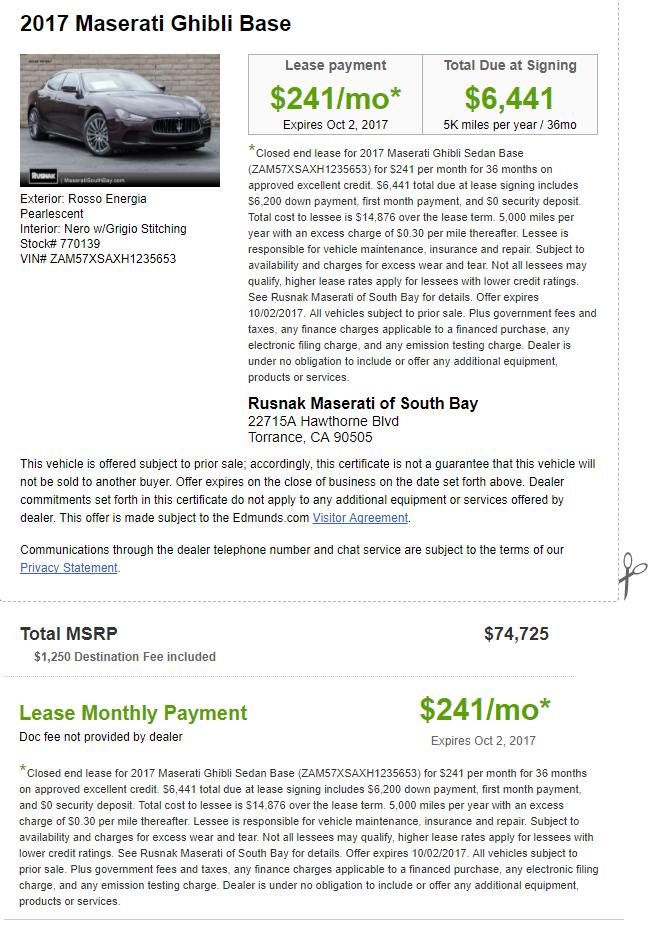 2017 Maserati Ghibli Base for $241/month $6,441 Drive Off (5k Miles) YMMV