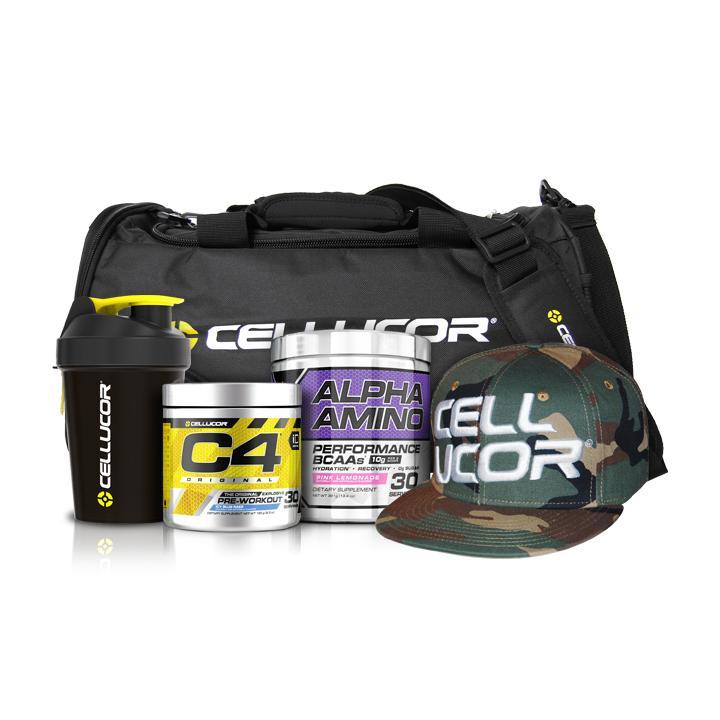 Cellucor: Secret Gym Bundle (C4, Alpha Amino Performance BCAA, Shaker, Bag, Hat) for $55