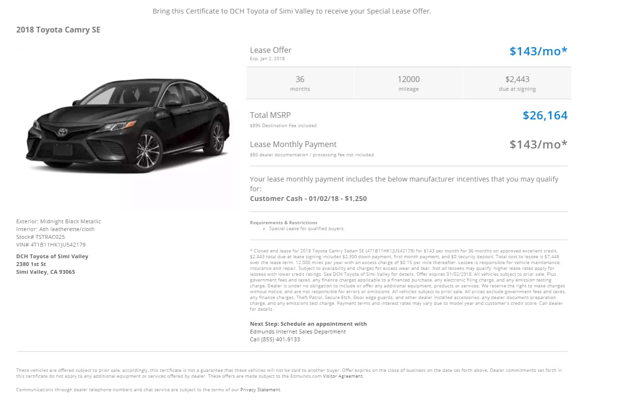 2018 Toyota Camry SE ($26,164) for $143/month w/ $2,443 due at signing YMMV