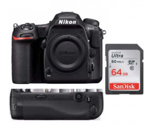 Nikon D500 DX Format DSLR Camera Body w/ MB-D17 Battery Grip & 64GB SD Card for $1,799.95