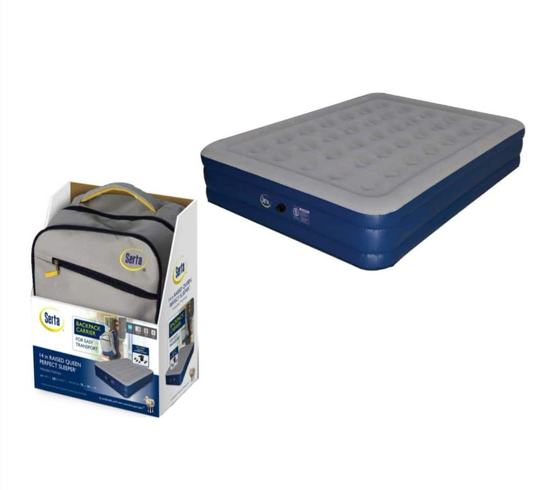 Serta 18'' Neverflat Raised Queen Air Mattress with Air Pump for $87.50 + Free Shipping