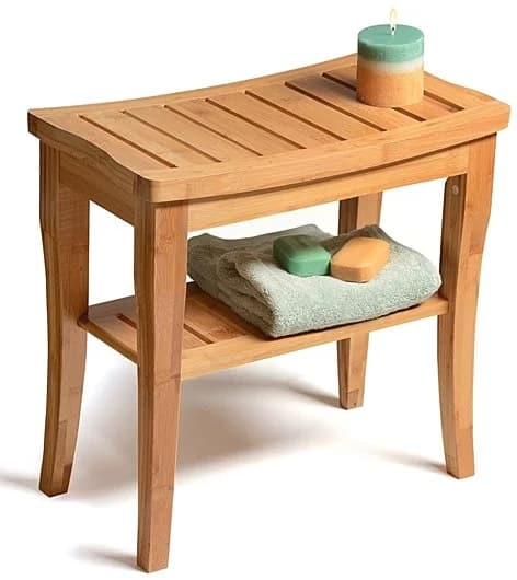 Bamboo Shower Seat Bench with Storage Shelf for Indoor or Outdoor Use for $51.98