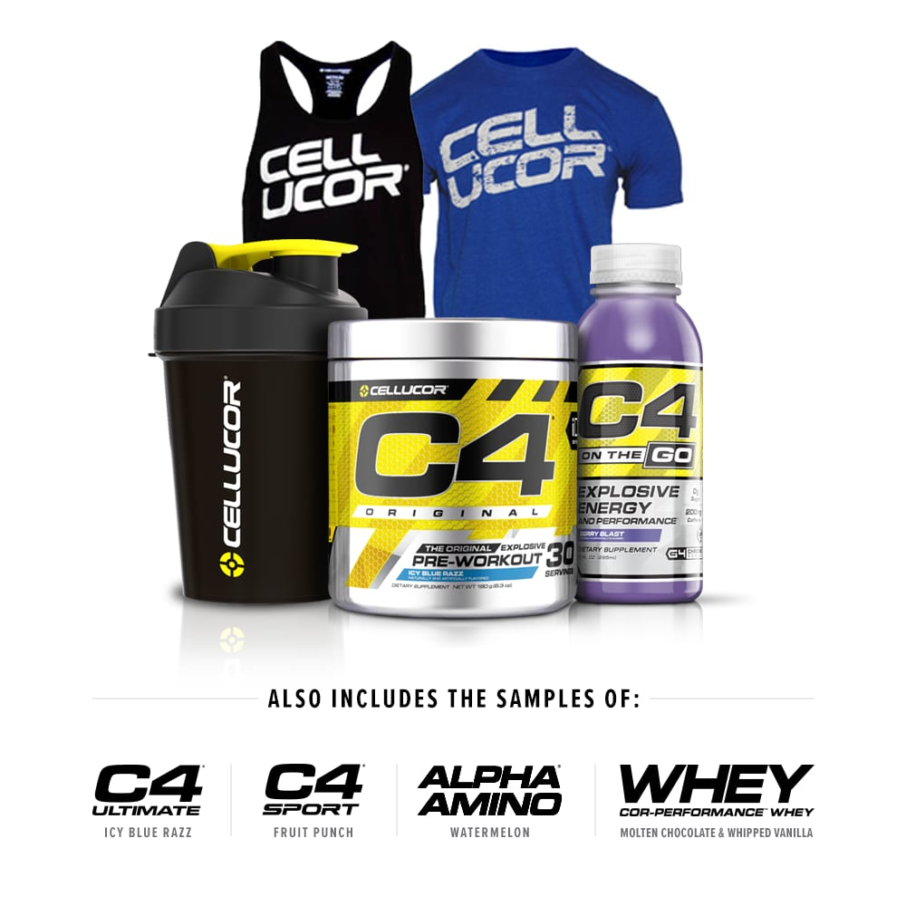 Cellucor Sample Box (C4 Original, Samples, Shirts, Smartshaker) for $36 + Free Shipping
