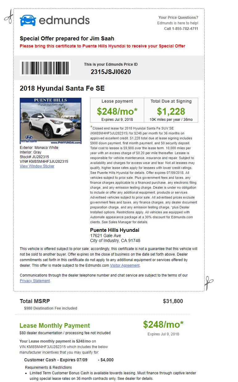 Suv Lease Deals Hyundai Santa Fe For 248 Month 1 228 Down Toyota