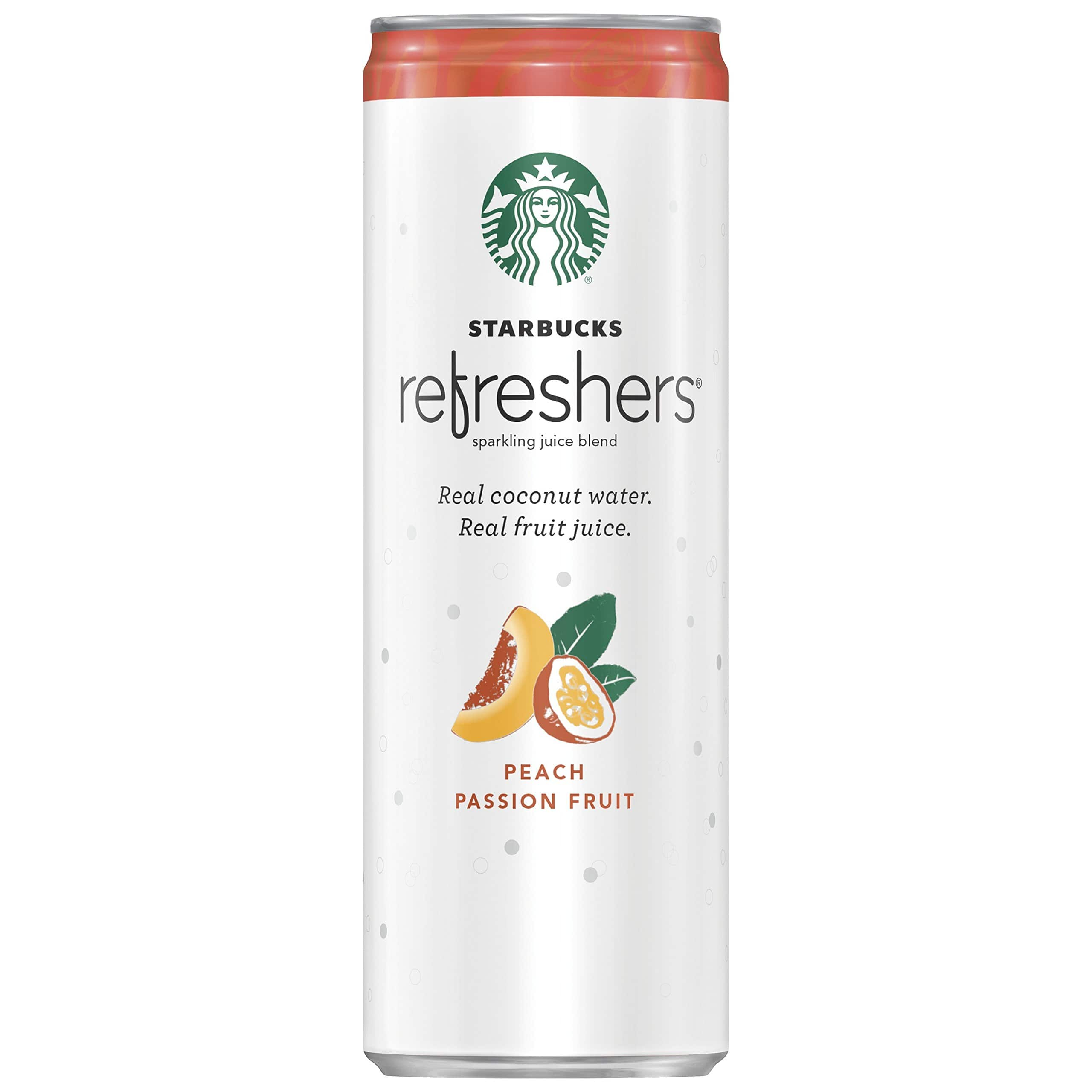 Starbucks Refreshers Sparkling Juice Blends, Strawberry Lemonade or Peach Passion Fruit with Coconut Water, 12 Ounce, 12 Cans for $14
