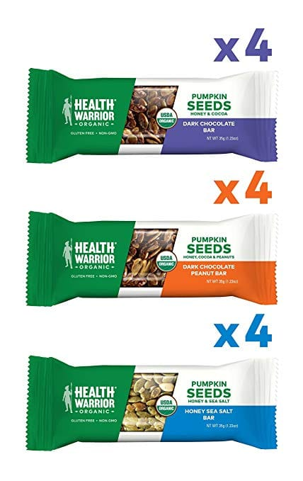 Health Warrior Pumpkin Seed Protein Bars, Variety Pack, 8g Plant Protein, Gluten Free, Certified Organic, 12 Count for $10.89 w/ S&S
