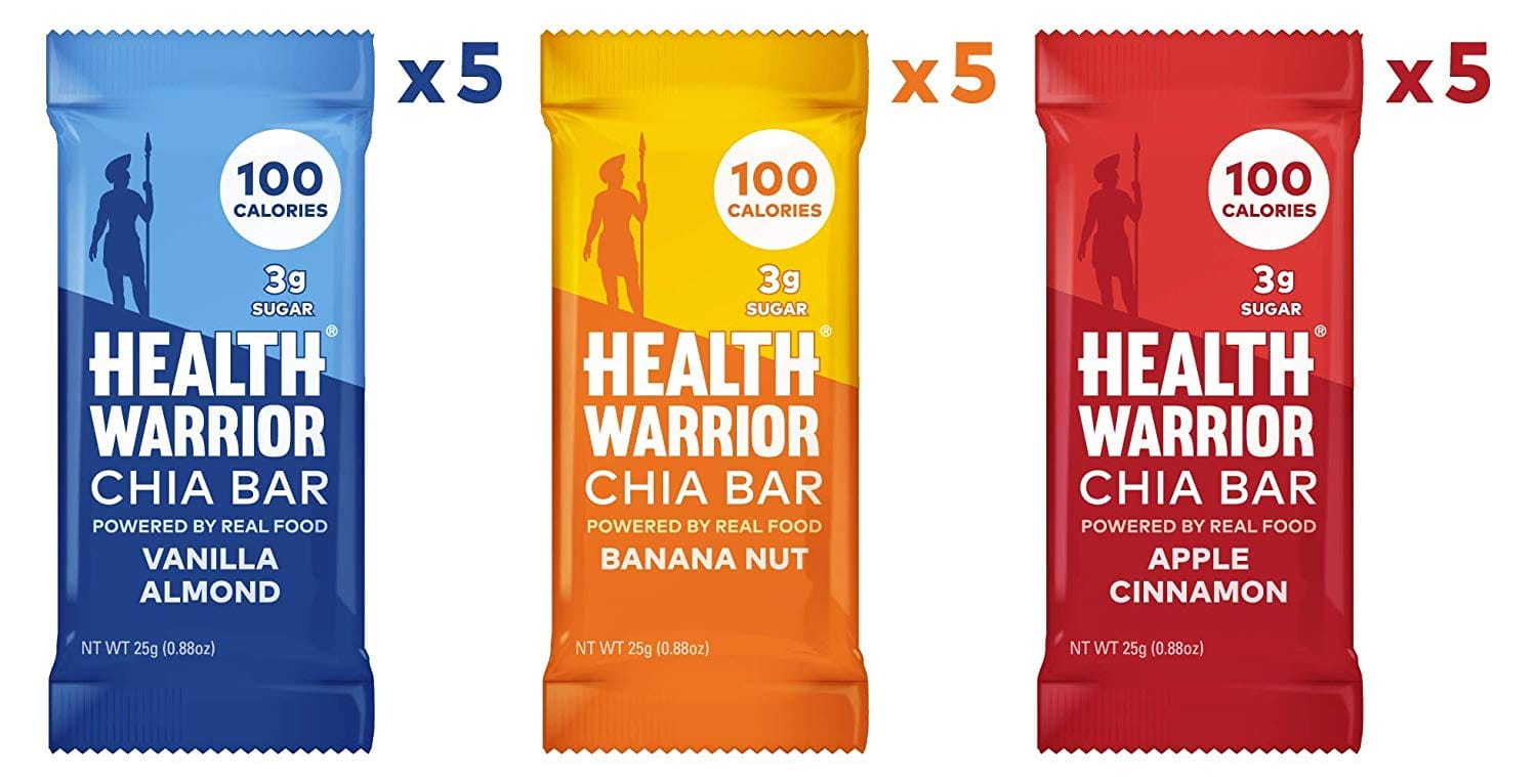HEALTH WARRIOR Chia Bars, Breakfast Variety Pack, Gluten Free, Vegan, 25g bars, 15 Count for $10.89 w/ S&S