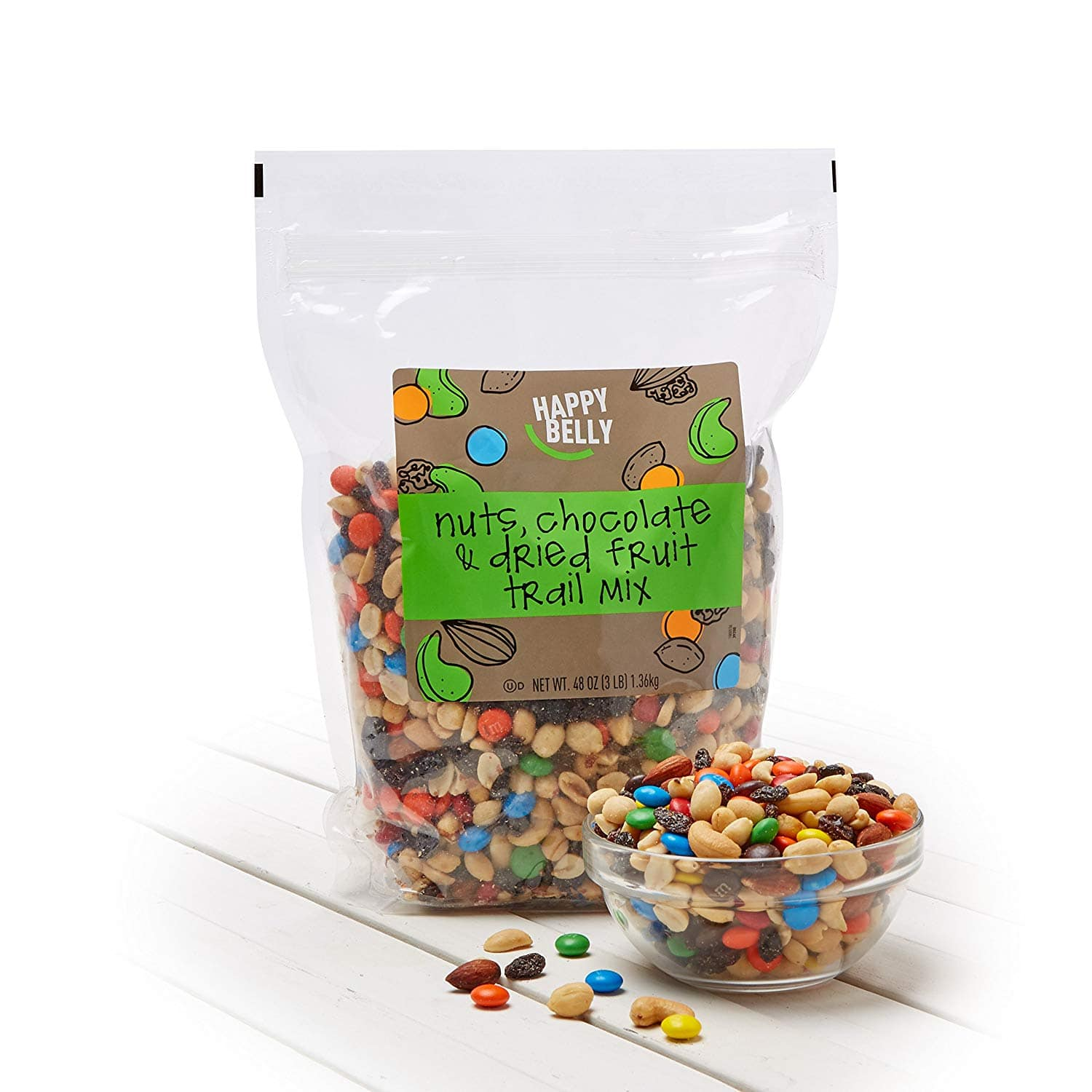 Select Amazon Accts: 48oz Happy Belly Nuts, Chocolate, & Dried Fruit Trail Mix $7.20 & More w/ S&S + F/H