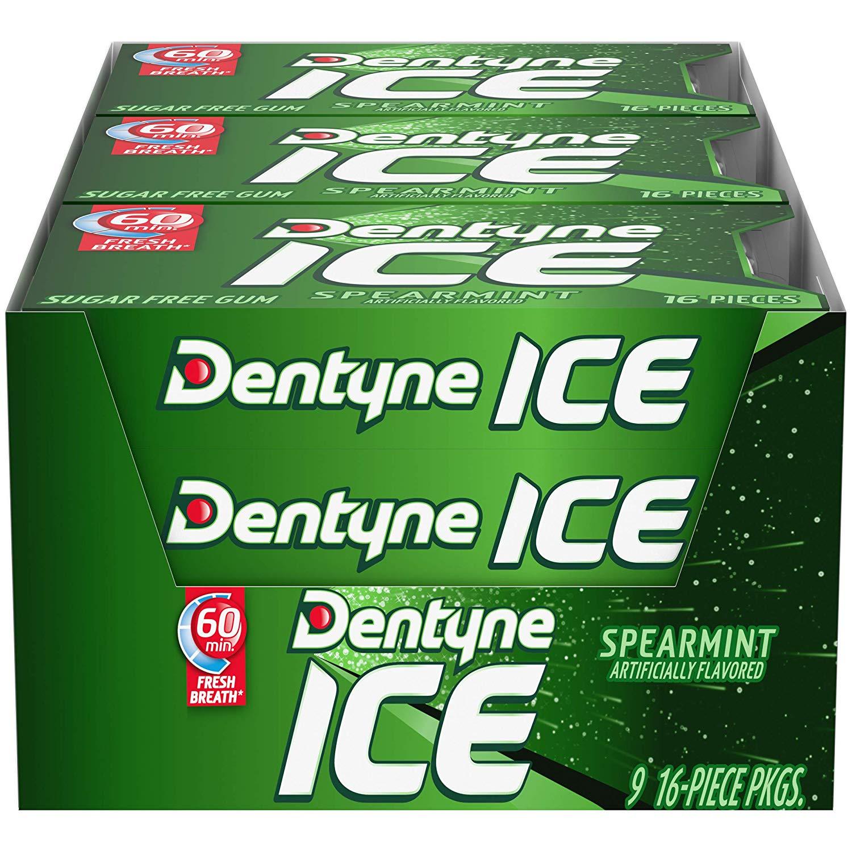 $6.36 shipped Dentyne Ice Sugar Free Gum (Spearmint  16 Piece  Pack of 9) w/ Prime @ Amazon