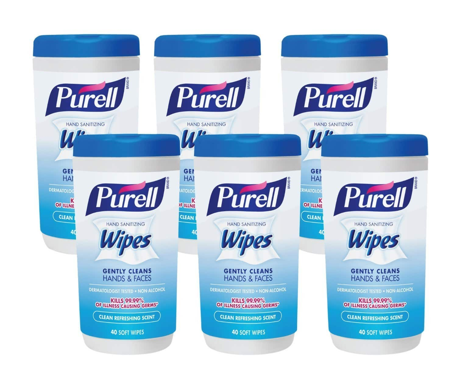 Purell 9120-06-CMR Hand Sanitizing Wipes, Clean Refreshing Scent, 40 Count Canister (Pack of 6) $11.38 @amazon