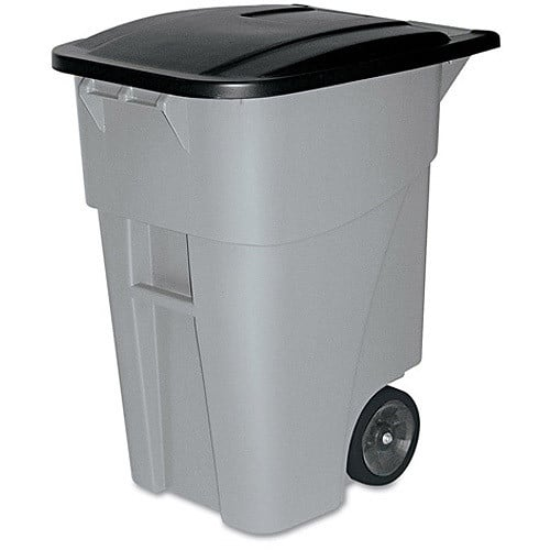 Rubbermaid Commercial BRUTE Rollout Heavy-Duty Waste Container, Square, Polyethylene, 65gal, Gray, (FG9W2100GRAY) $93.54 FS @amazon