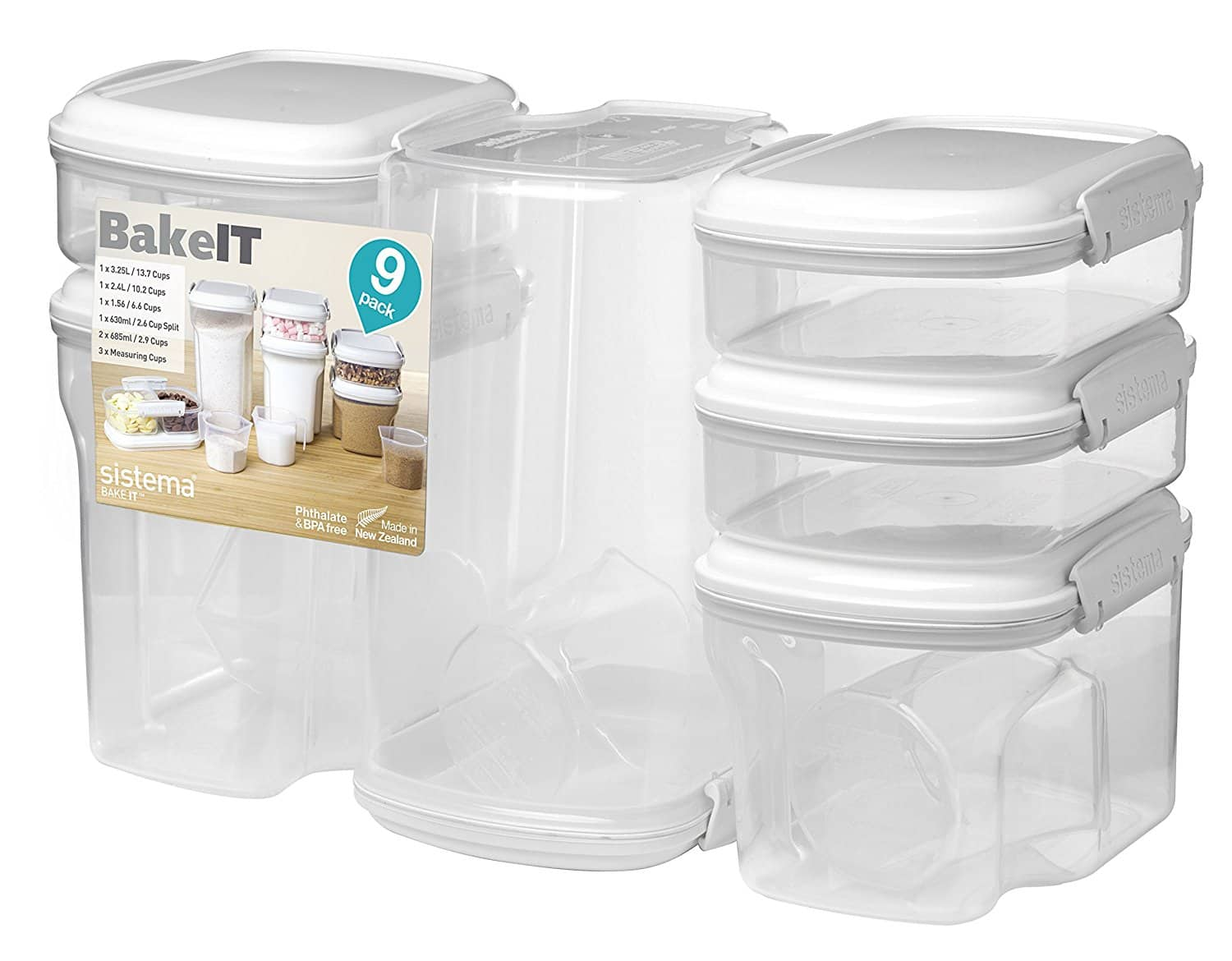 Sistema Bake It Food Storage for Baking Ingredients, Multi Piece Containers, Set of 9 $19.94 @amazon