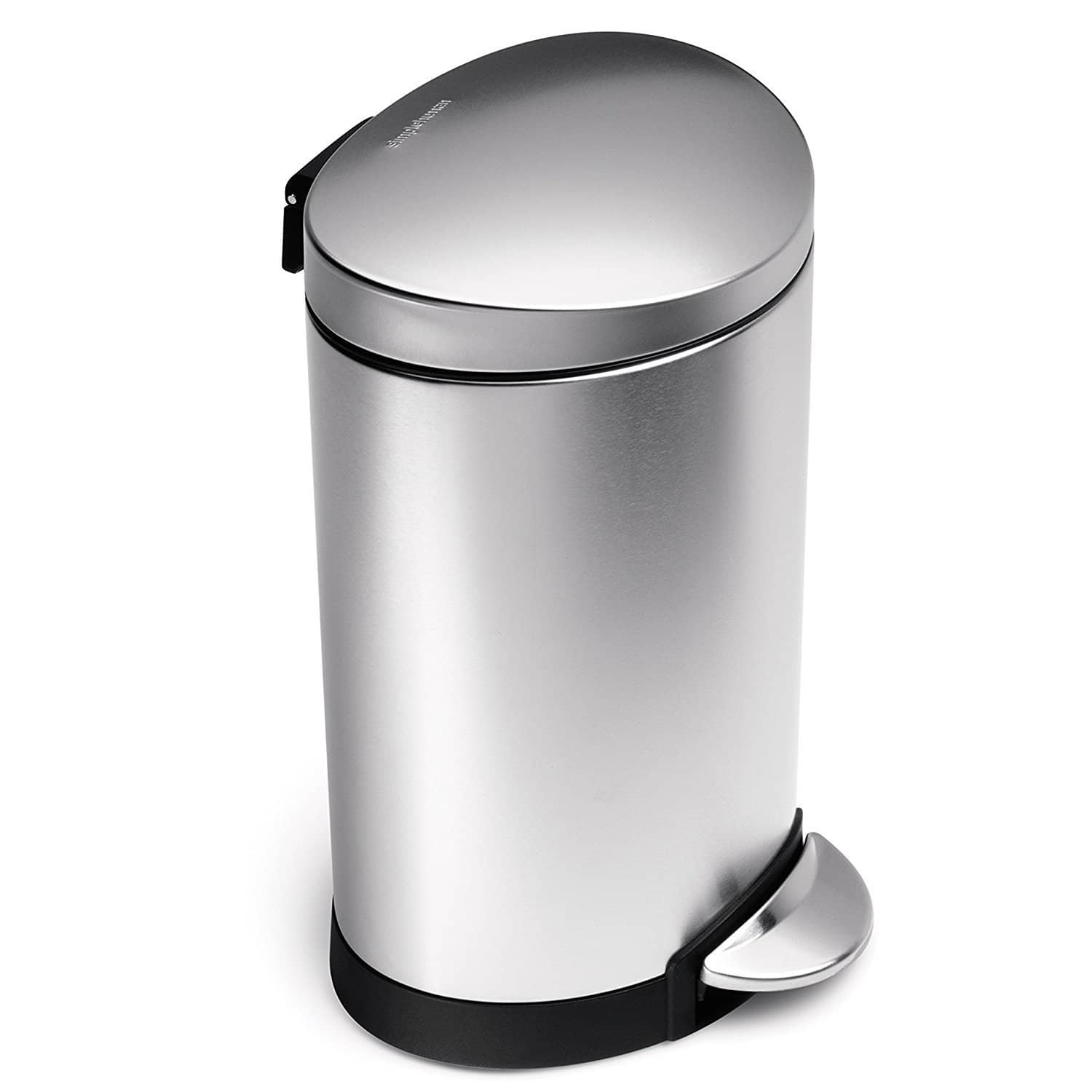 Simplehuman 6 Liter 1 Gallon Stainless Steel Compact Semi Round Bathroom Step Trash Can