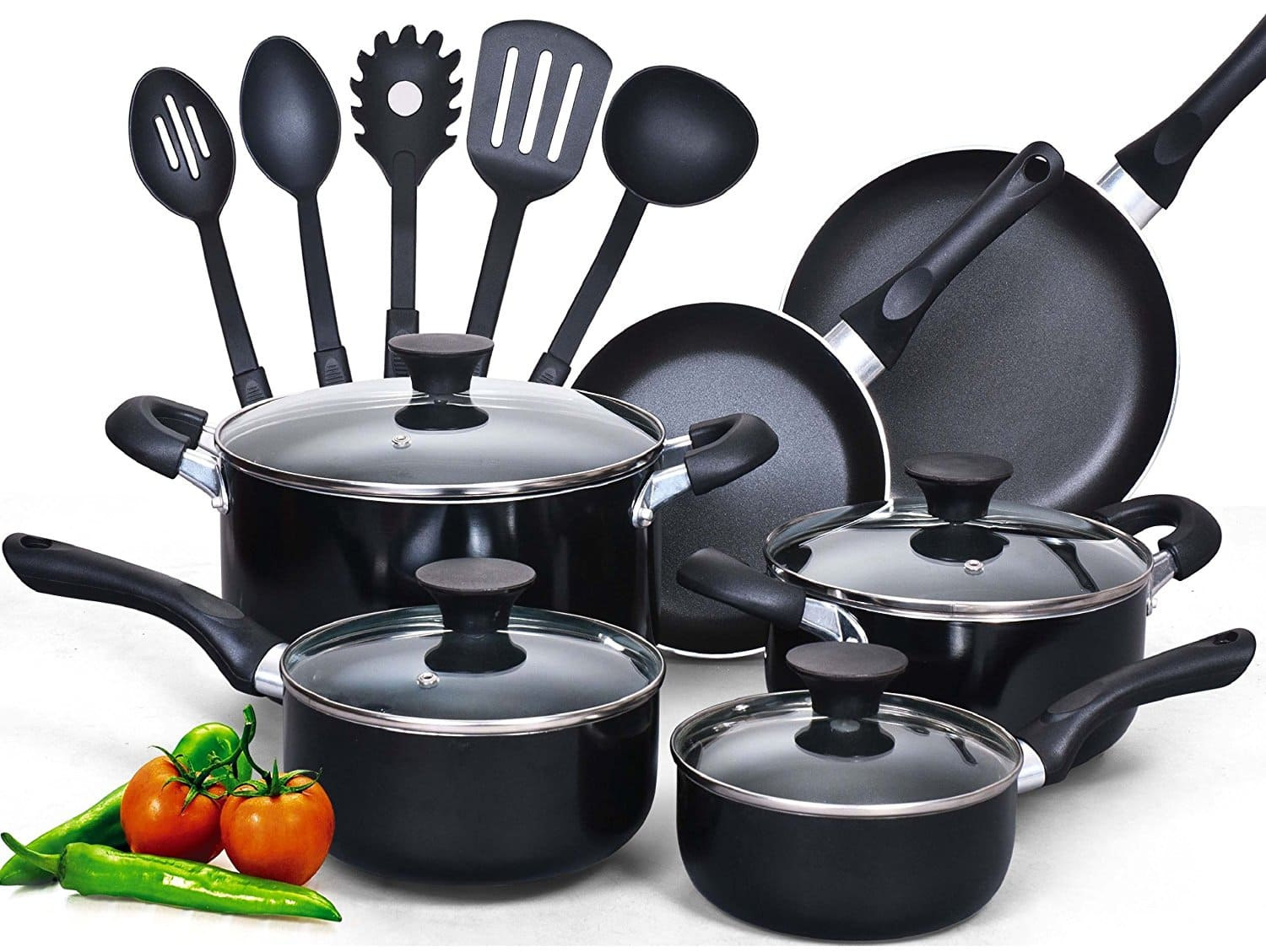 Cook N Home 15-Piece Nonstick Stay Cool Handle Cookware Set, Black [Black, 15 Piece] $39.99 FS @amazon