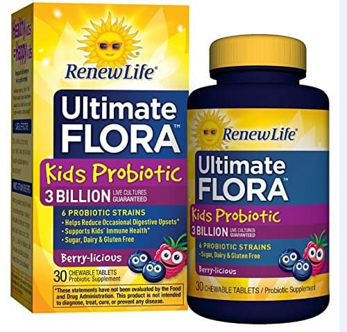 Ultimate Flora Kids Probiotic Supplement, Chewable Tablets Berry 30 ea [30 Count] $7.01 @amazon