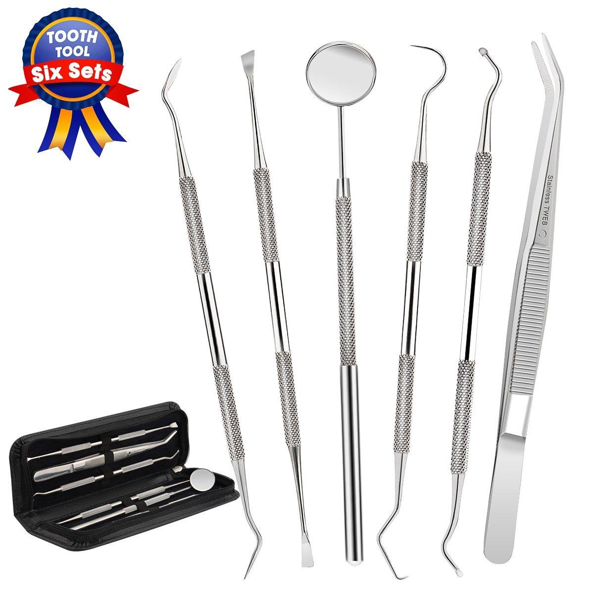 Dental Tools,Patekfly Stainless Steel 6 PACK Dental Pick Dental Floss , Dental Hygiene Tool Set,Tooth Scraper Plaque Tartar Remover Dental Tweezers Gum Floss $5.94 @amazon