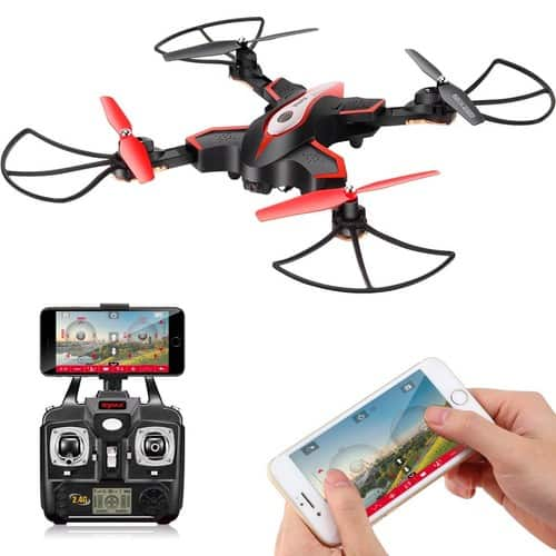 DoDoeleph Syma X56W RC Drone Foldable Quadcopter With HD Wifi Camera and Live Video 4 Channel Headless Mode Altitude Hold One Key Take off Landing UAV Black $29.95 FS @amazon