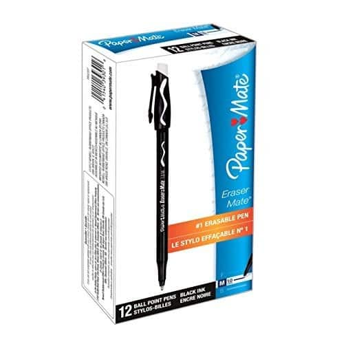 Add-on item Paper Mate EraserMate Erasable Pen, Medium Point, Black, 12-Count $3.23 @amazon