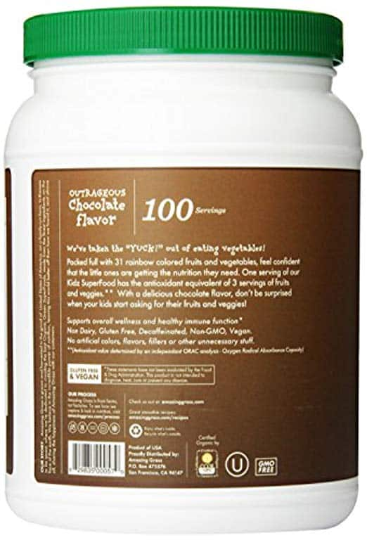 Amazing Grass, Nutritional Plant Based Kidz Superfood Powder with Greens, Veggies and Fruits, Flavor: Outrageous Chocolate, 100 servings tub, vegan kids $30.8 S&S @amazon