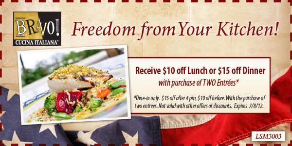 BRAVO! Cucina Italiana, Receive $10 off Lunch or $15 off Dinner with purchase of two Entrees.