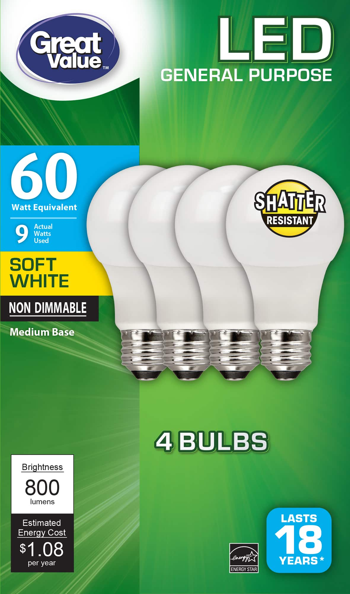 Great Value LED Light Bulb, 9W (60W Equivalent) A19 General Purpose Lamp E26 Medium Base, Non-dimmable, Soft White, 4-Pack - YMMV - $0.97