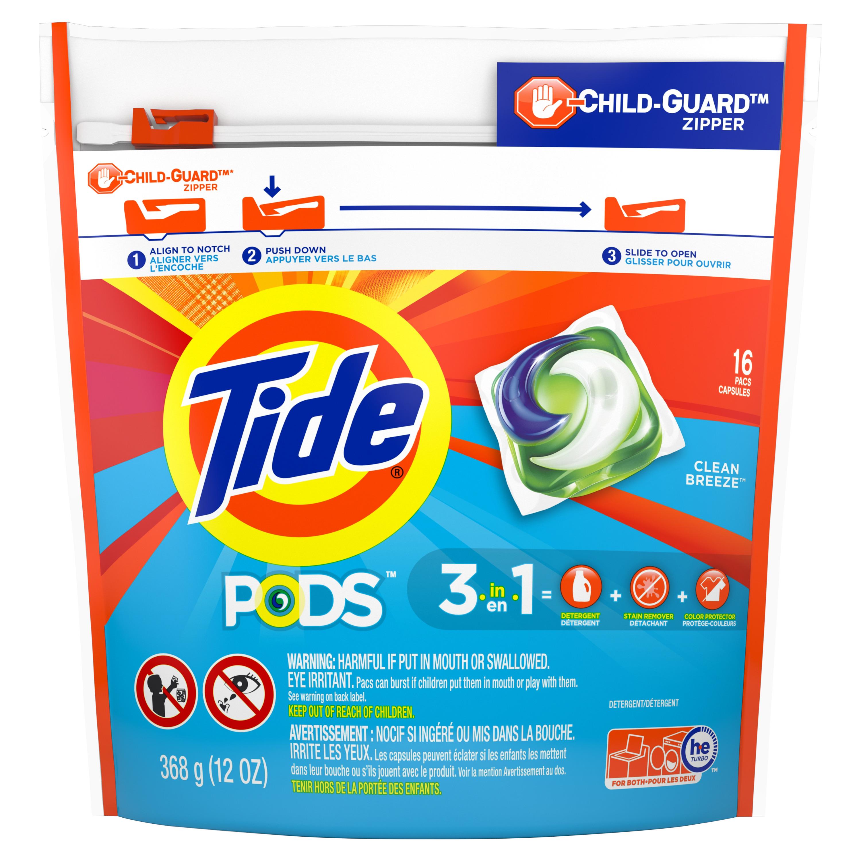 WALMART YMMV - Tide PODS Liquid Laundry Detergent Pacs, Clean Breeze, 16 count - $1