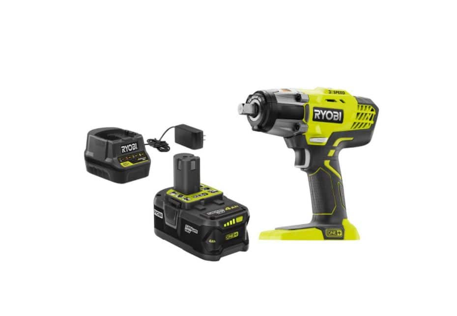 ONE+ 18V Cordless 3-Speed 1/2 in. Impact Wrench Kit with (1) 4 Ah Battery, Charger and Bag $99