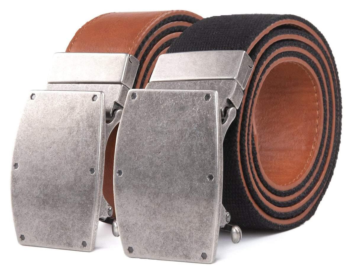 Men's bonded leather & canvas reversible ratchet belt $15 shipped.