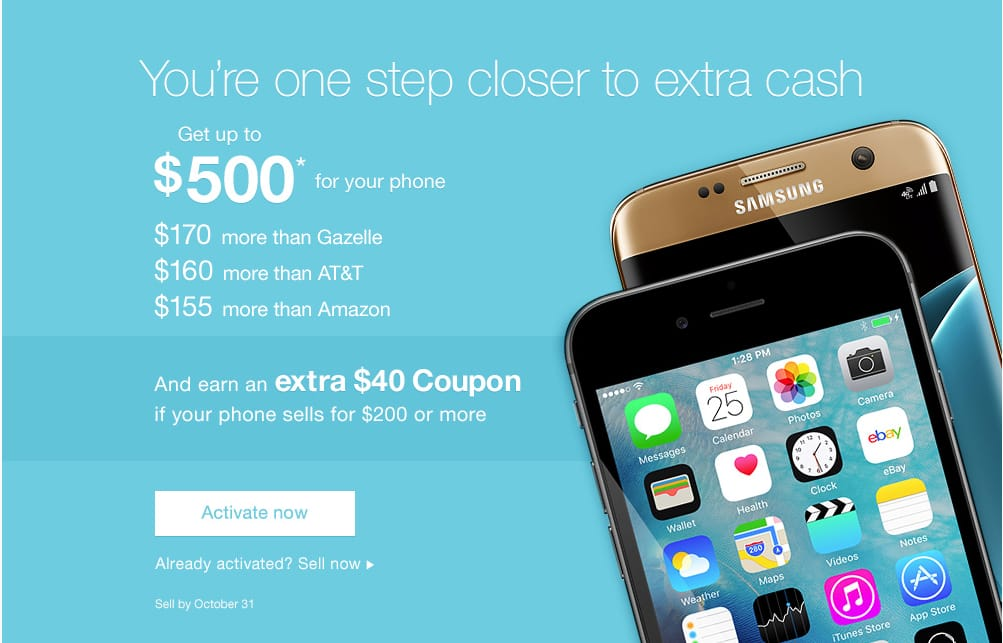 ebay - $40 bonus when you sell your iPhone for $200 or more - Valid till Oct 31 - YMMV