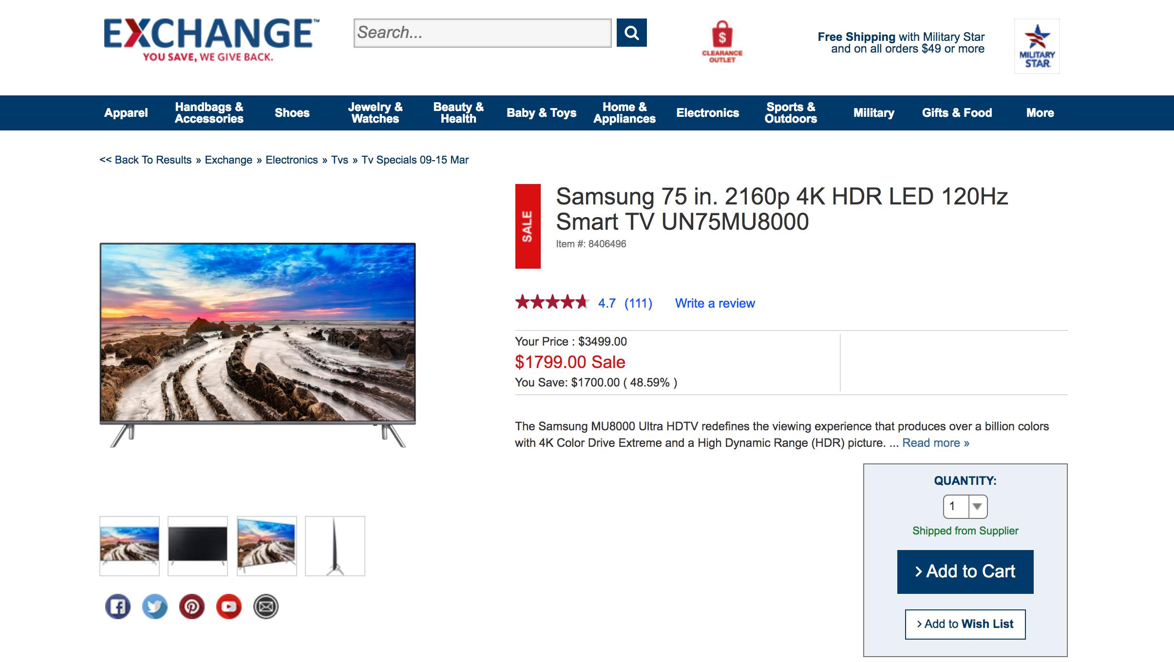 AAFES / Military - Samsung 75 in. 4K UN75MU8000 $1799.00 No Tax