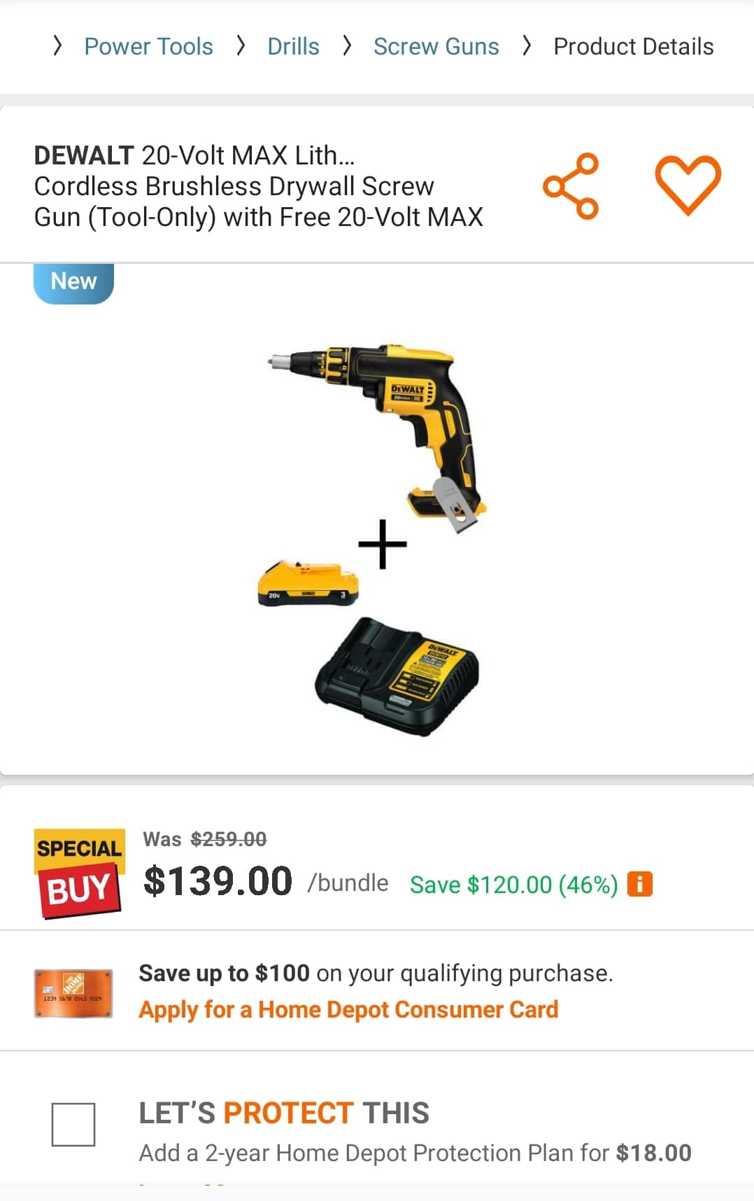 $139 20-Volt MAX Lithium-Ion Cordless Brushless Drywall Screw Gun (Tool-Only) with Free 20-Volt MAX Battery 3.0Ah & Charger