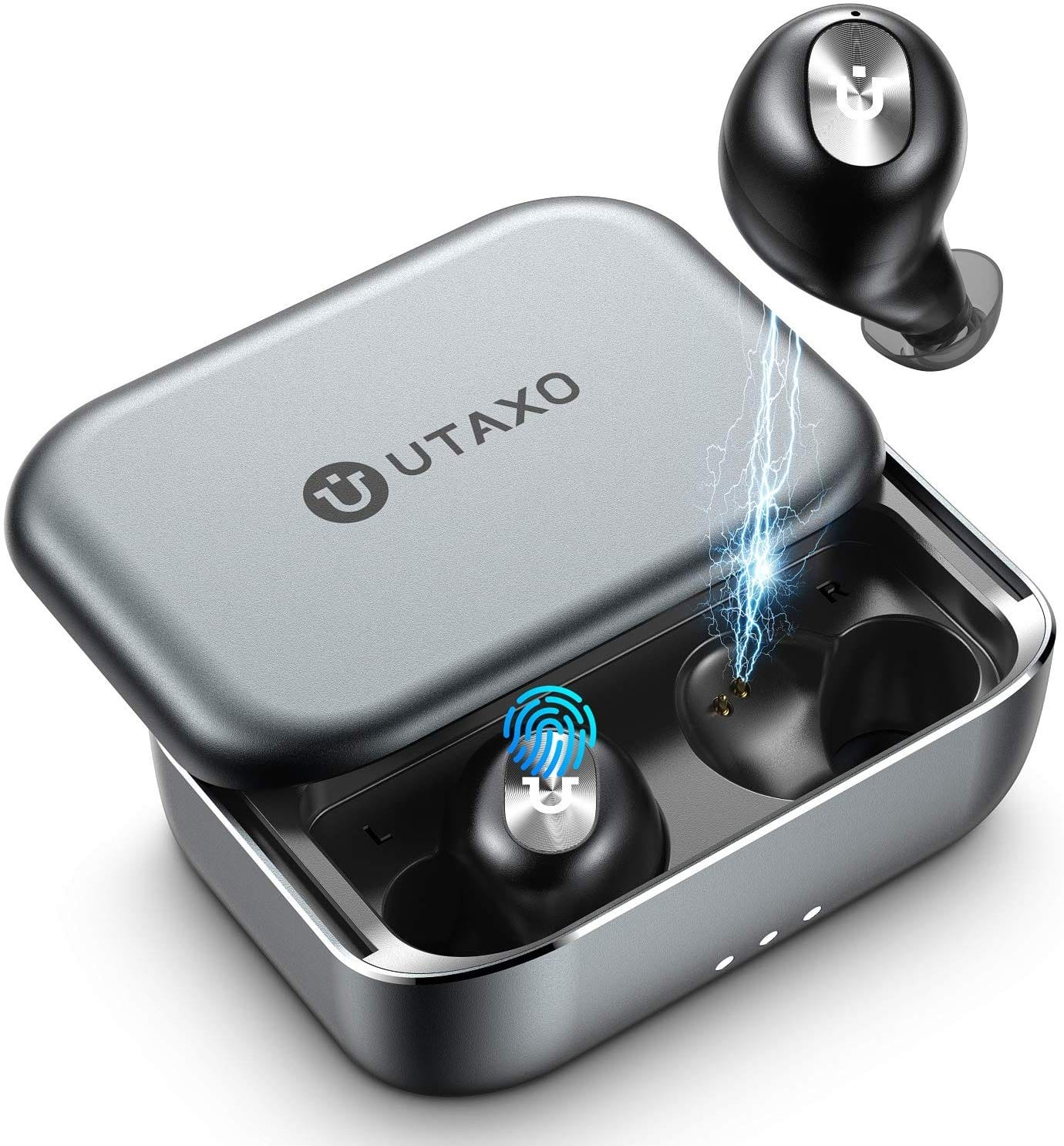 Utaxo Wireless Earbuds with Aluminum Charging Case, IPX7 Waterproof, 100Hours Playtime $32.49