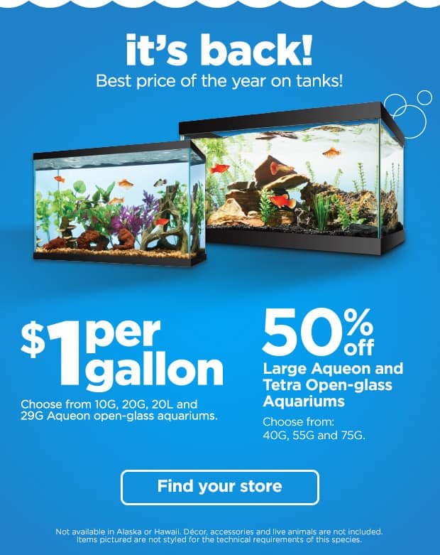 Petco sale on Aqueon aquariums - $1 for gallon up to 29g, 50% off 40, 55, 75g