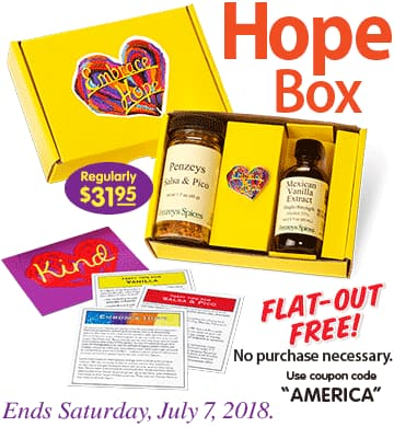 Penzey's Hope Box, $31.95 value, just pay shipping $7.95 with code AMERICA, or free in store