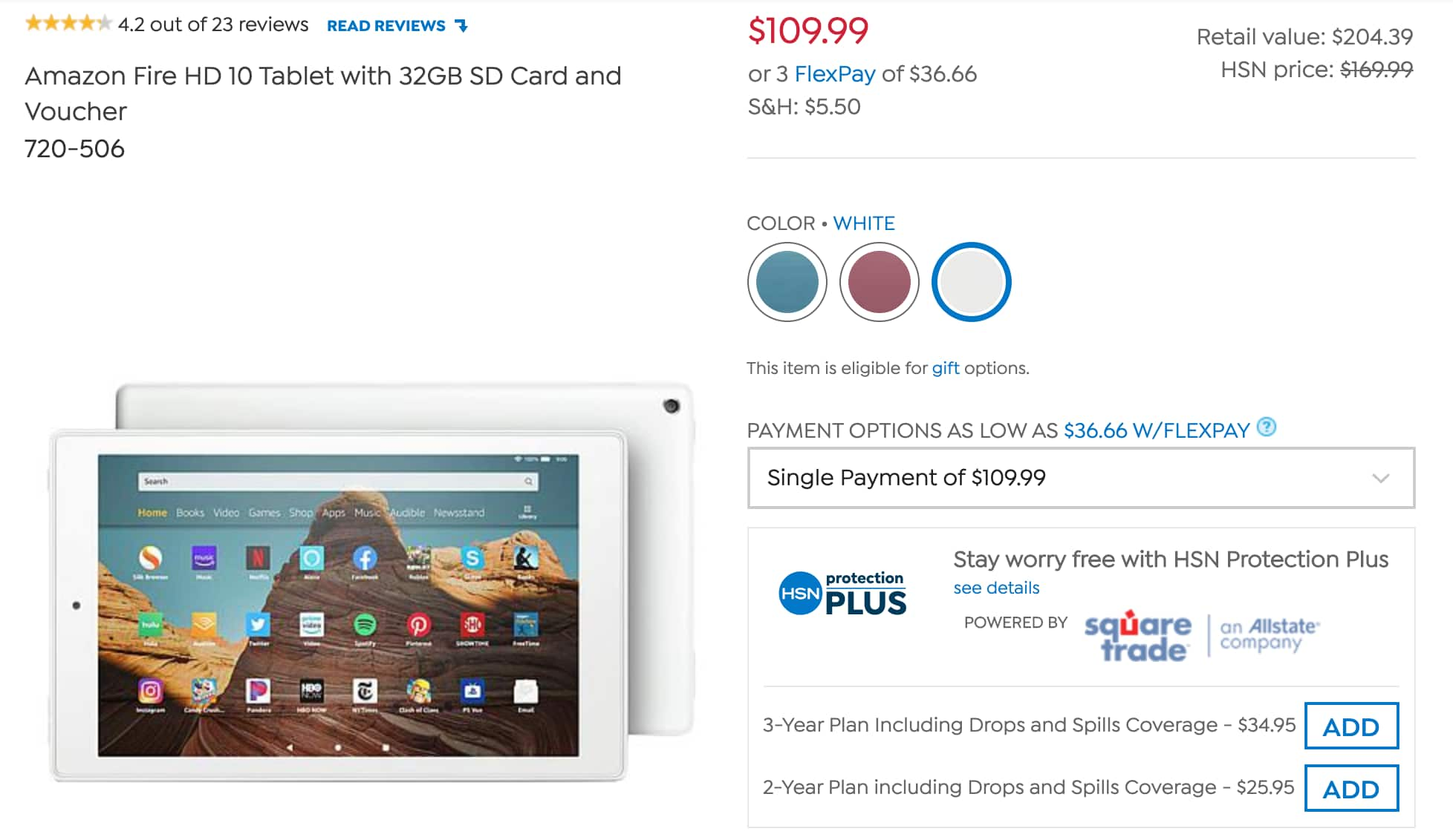 HSN: Amazon Fire HD 10 Tablet with 32GB SD Card and Voucher, shipping $5.50 $109.99