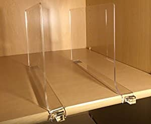 Acrylic Shelf Divider with Hook, Pack of 2 By SlideMe, Perfect shelf dividers to organize clothes Closet Shelves, Books & office Organizer, Purses Separators, Baby Closets for $20