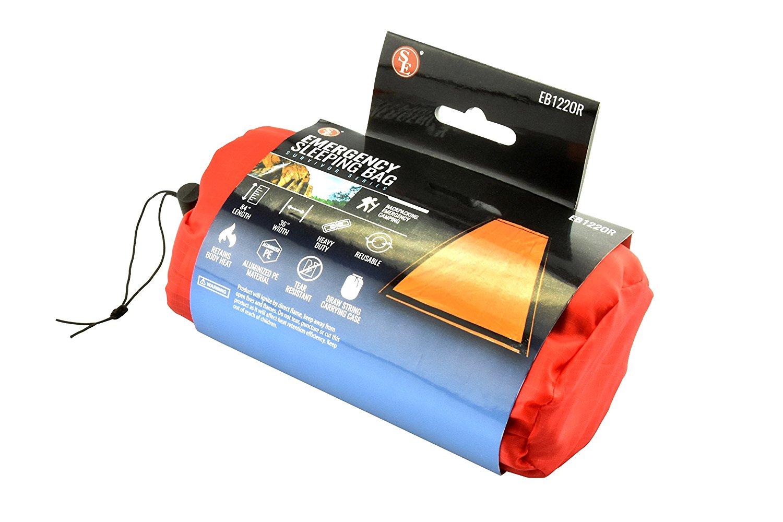 KEEP IN YOU CAR!  SE EB122OR Emergency Sleeping Bag with Drawstring Carrying Bag, Orange $5