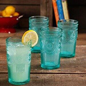 The Pioneer Woman Adeline 16-Ounce Emboss Glass Tumblers, Set of 4 $13.88