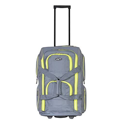 "Olympia 22"" 8 Pocket Rolling Duffel, Gray+Lime, One Size $24.99 + fs"