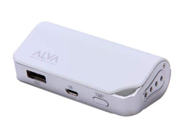 Alva MJ-2200 Portable Battery Pack Power Bank for USB Mobile Devices (White) $4.99 AC $5