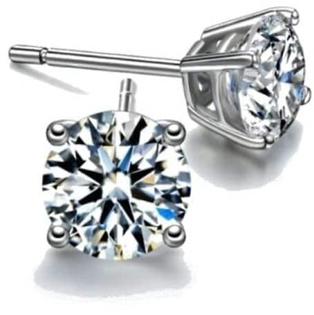 2ct Sterling Silver Round Simulated Diamond Studs $2.99 + FS