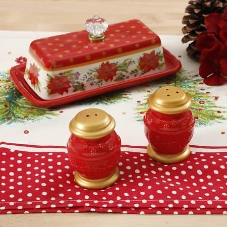 The Pioneer Woman Holiday Red Salt and Pepper & Butter Dish Set $12.26
