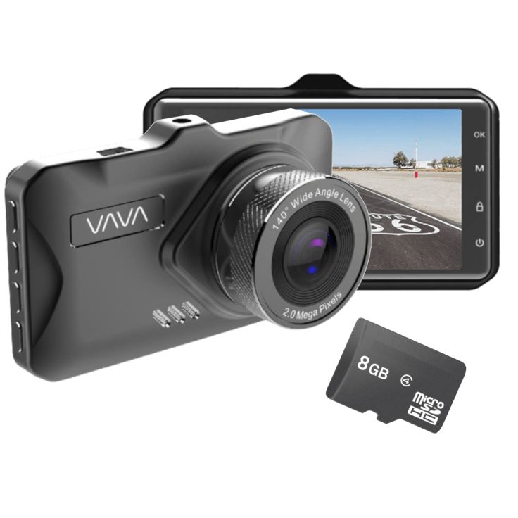 """VAVA 1080P 3"""" Dash Cam with Parking Monitor & 8GB SD Card $37"""