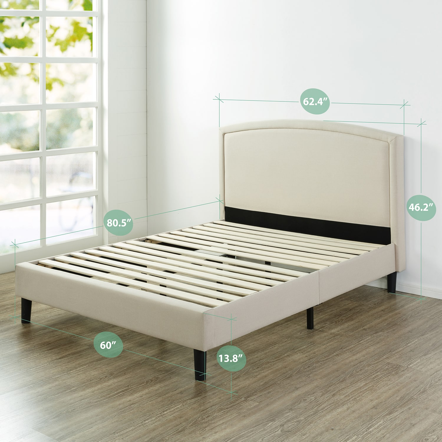 """Zinus Kodi 46"""" Upholstered Arched Platform Bed with Wooden Slat Support - Queen $175"""