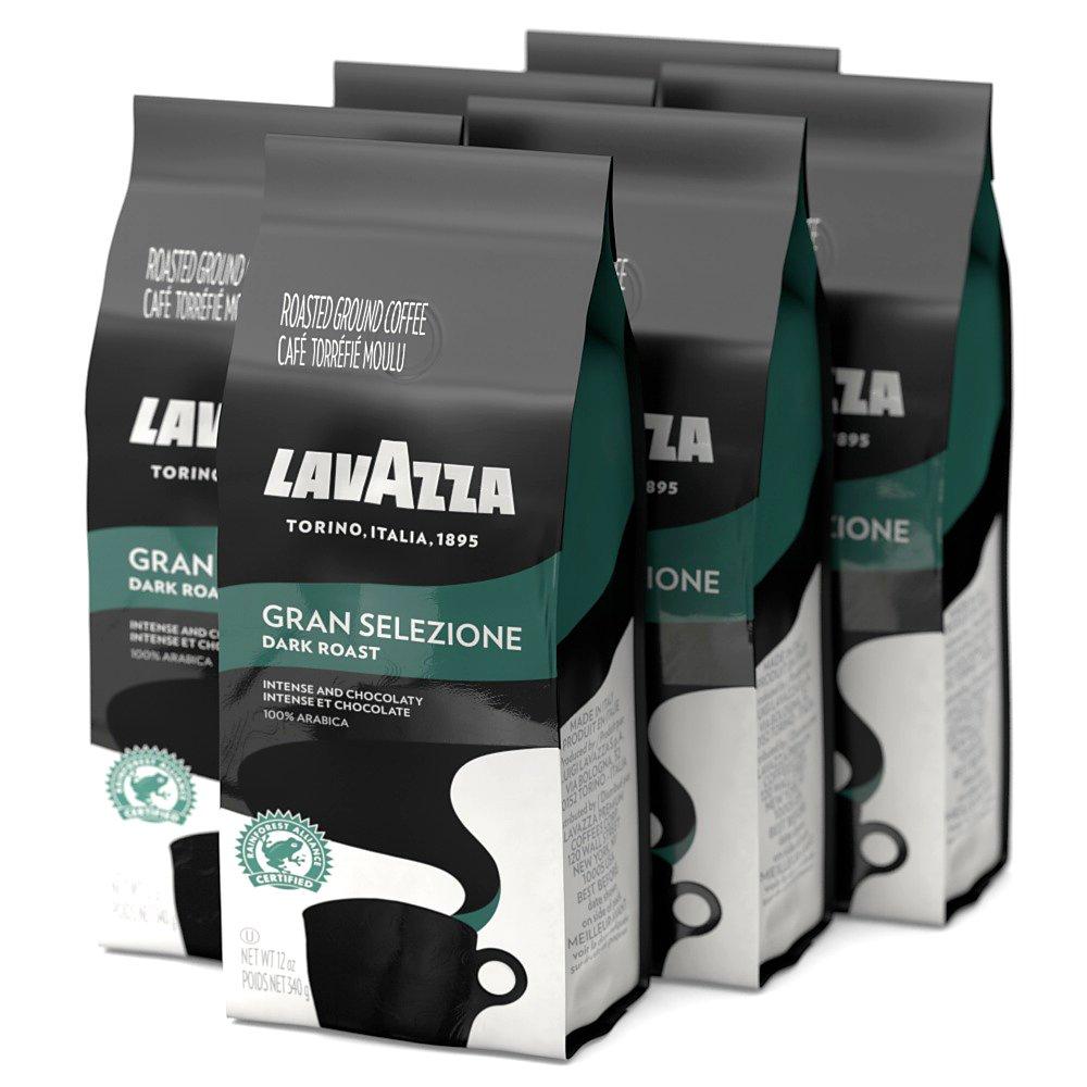 Lavazza Gran Selezione Ground Coffee Blend, Dark Roast, 12-Ounce Bags (Pack of 6) $33.68