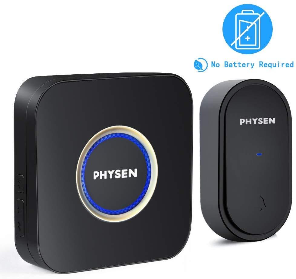 PHYSEN IP55 Waterproof Wireless Doorbell Kit, No Battery Required $6.99 at Amazon