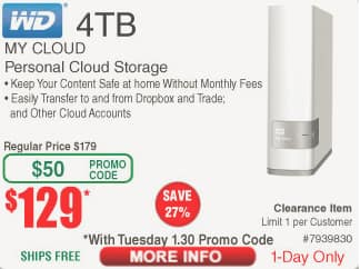 Fry's Weekly Promo: WD 4TB My Cloud Personal Network Attached Storage - NAS : WDBCTL0040HWT-NESN $129