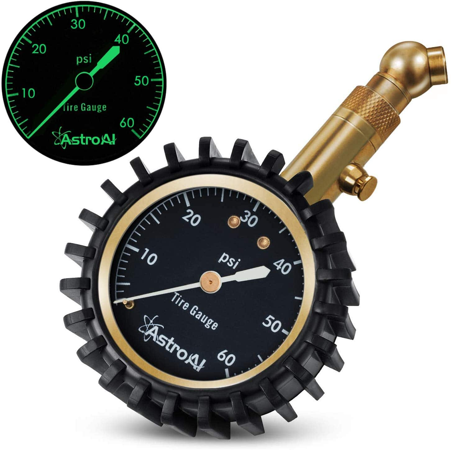 Tire Pressure Gauge, 60 PSI Portable Heavy Duty with Glow Dial and Solid Brass Construction - $9.49