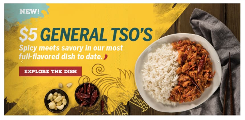 Pei Wei: General Tso's Rice Bowl Meal $5 Small or Regular